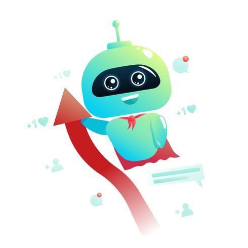 Chatbot mignon pour le marketing et la consultation en ligne vecteur