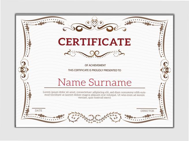 Modèle de certificat de réussite classique doré vintage vecteur