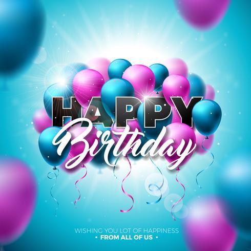 Joyeux anniversaire Vector Design avec ballon, typographie et élément 3d sur fond de ciel bleu brillant. Illustration pour la fête d'anniversaire. cartes de vœux ou une affiche.