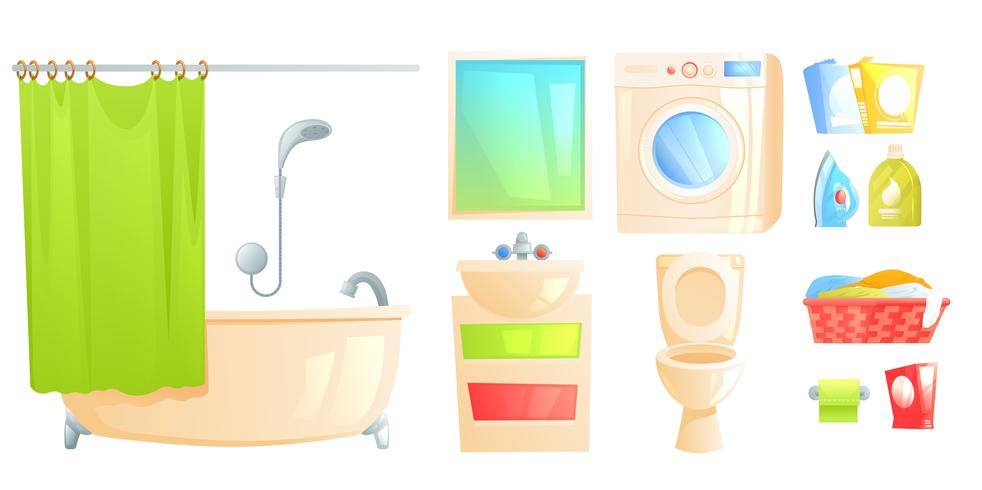 Toilette et bain isolés et autres sujets vecteur