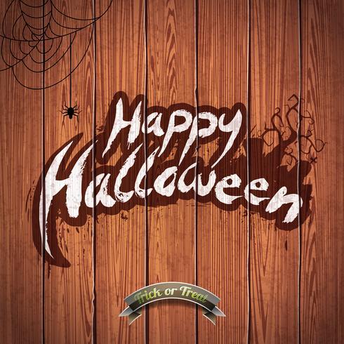 Vector illustration Happy Halloween avec des éléments typographiques et araignée sur fond de bois.