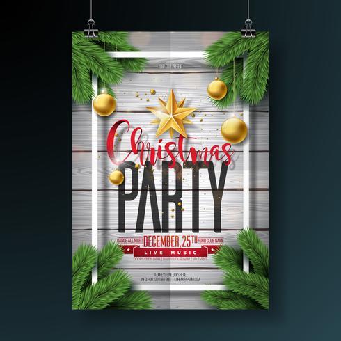 Conception de flyer fête de vecteur joyeux Noël avec des éléments de typographie de vacances et boules ornementales sur fond bois vintage. Illustration de l'affiche célébration premium.