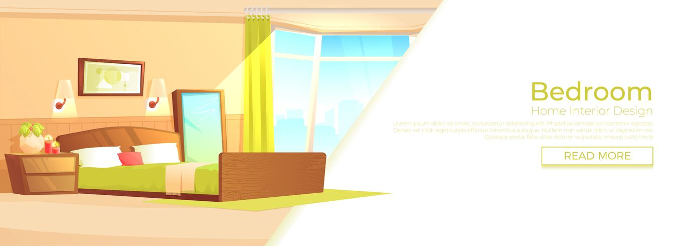 Concept de bannière intérieur intérieur de chambre à coucher vecteur