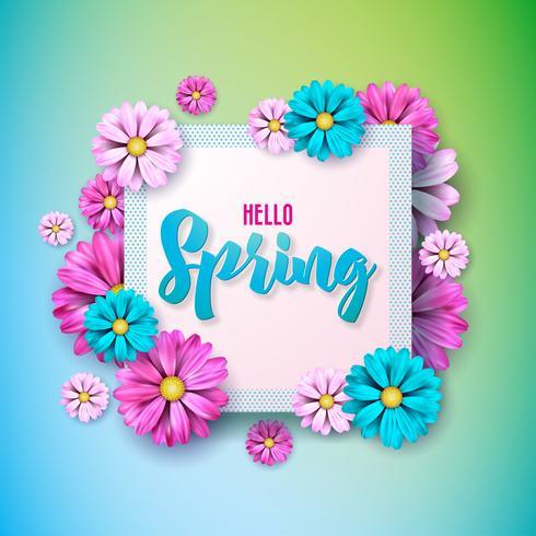 Design nature printemps avec belle fleur colorée sur fond propre vecteur