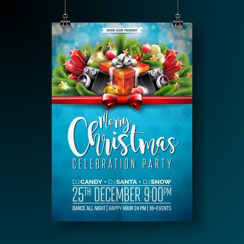 Conception de fête joyeux Noël de vecteur avec des éléments de typographie de vacances et des haut-parleurs sur fond brillant. Illustration de célébration Fliyer. EPS 10.