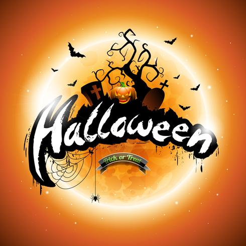 Vector illustration Happy Halloween avec citrouille et lune sur fond orange.