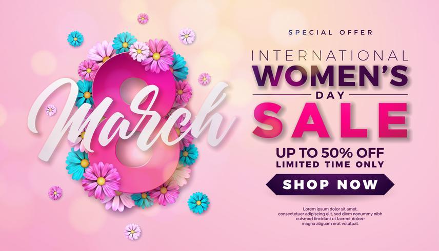 Womens Day Sale Design avec une belle fleur colorée sur fond rose vecteur