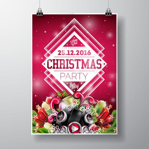 Conception de fête joyeux Noël de vecteur avec des éléments de typographie de vacances et des haut-parleurs sur fond brillant.