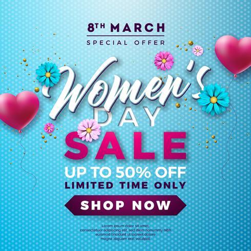 Womens Day Sale Design avec ballon en forme de cœur et de fleurs sur fond bleu vecteur