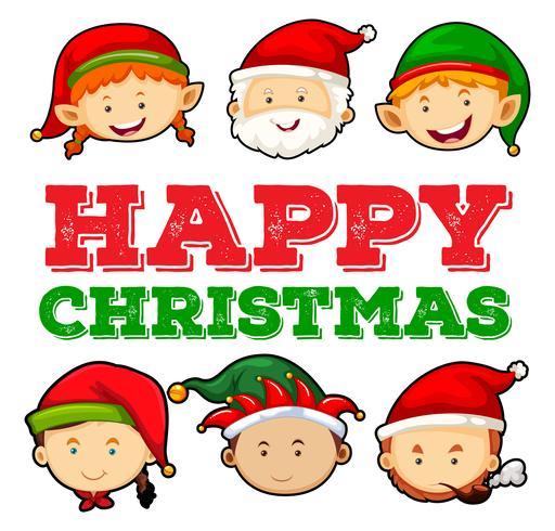 Conception de cartes de Noël avec Père Noël et Elf vecteur