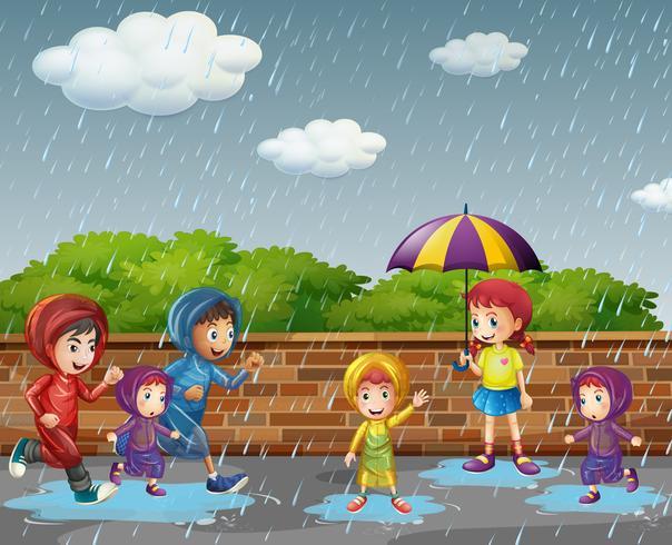 Beaucoup d'enfants courent sous la pluie vecteur