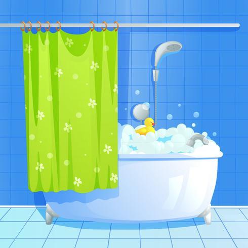 Bain aux bulles de savon moussantes vecteur
