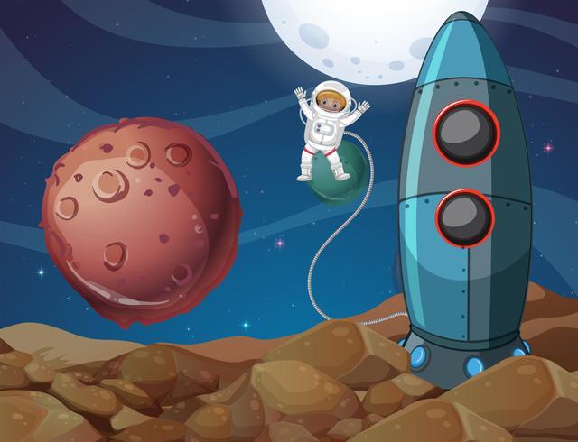 Spaceman explorant la nouvelle planète vecteur