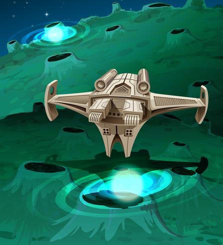 Un vaisseau spatial moderne volant autour de la planète vecteur