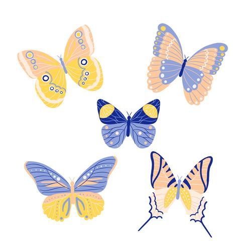 Collection de papillons mignons au printemps vecteur