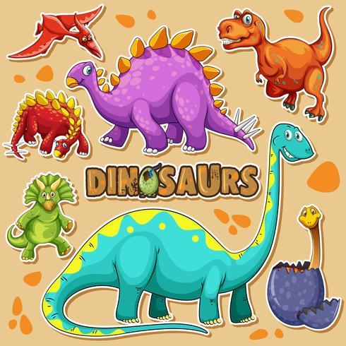 Différents types de dinosaures sur une affiche vecteur