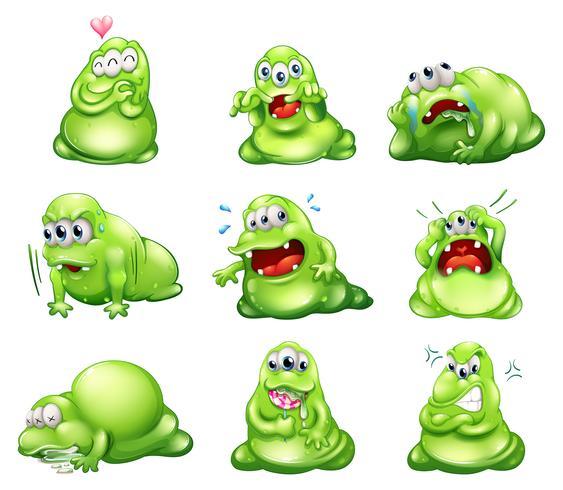 Neuf monstres verts se livrant à des activités différentes vecteur