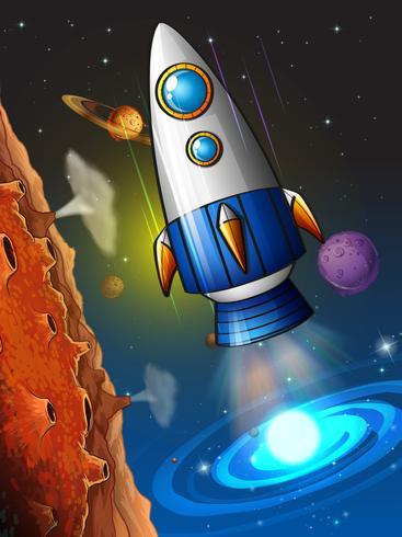 Rocketship volant autour de la planète vecteur