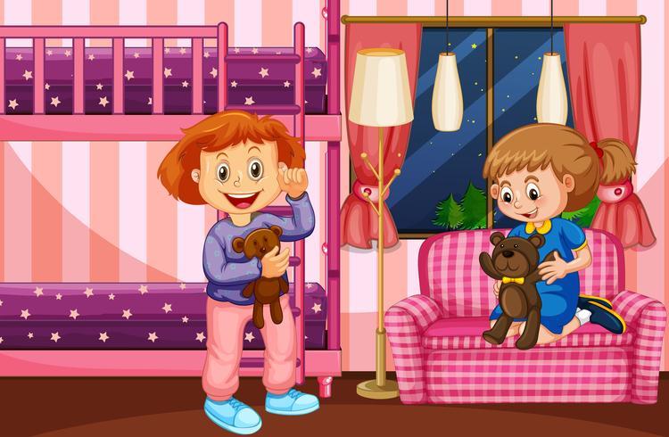 Scène chambre à coucher avec deux filles et lit superposé vecteur