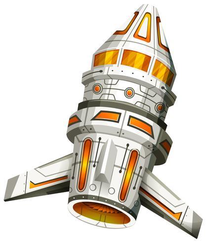 Vaisseau spatial avec des ailes sur fond blanc vecteur