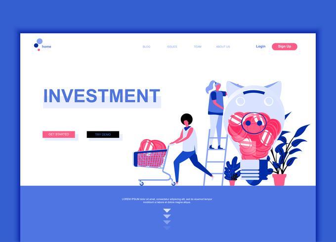 Concept de modèle de conception de page Web plat moderne de Business Investment décoré le caractère de personnes pour le développement de site Web et site Web mobile. Modèle de page d'atterrissage plat. Illustration vectorielle vecteur