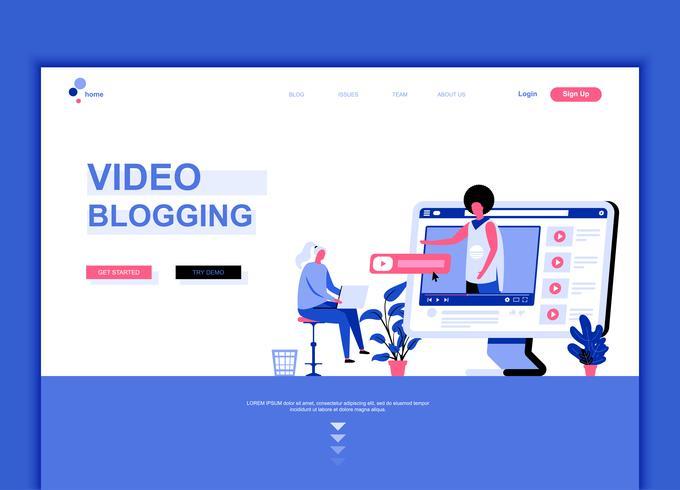Concept de modèle de conception de page web plat moderne de Video Blogging vecteur