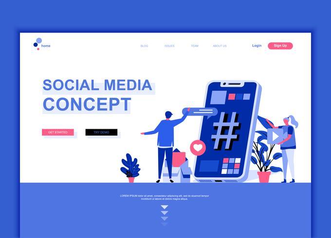 Concept de modèle de conception de page web plat moderne de médias sociaux vecteur
