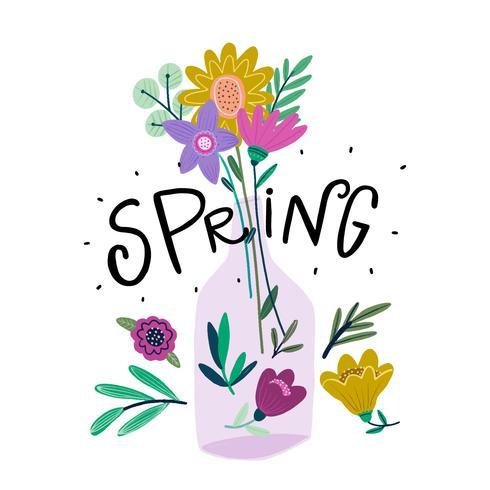 Vase à fleurs mignon avec des fleurs colorées et lettrage vecteur