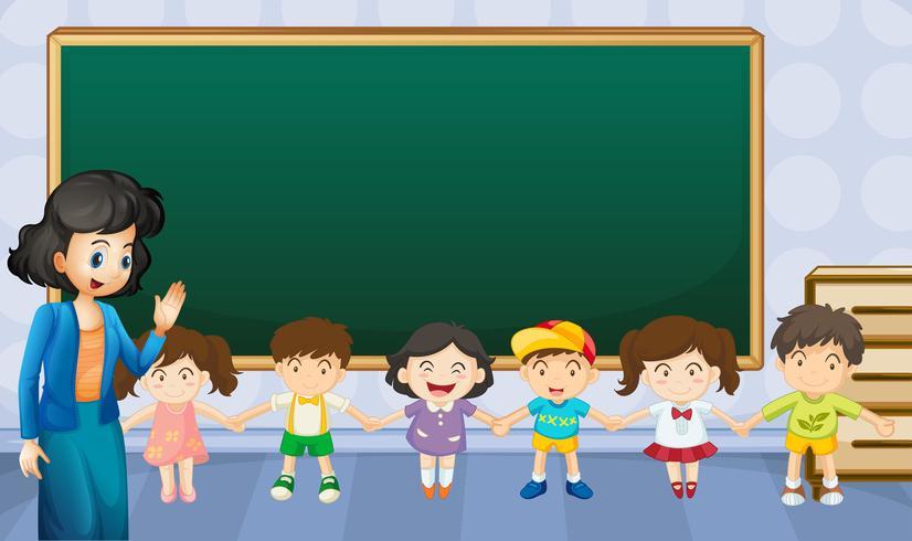 Enseignant et élèves en classe vecteur