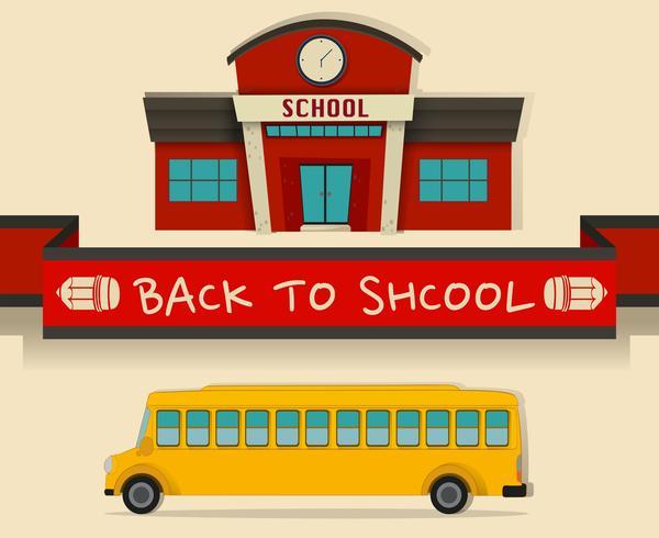 Retour à l'école avec autobus scolaire vecteur