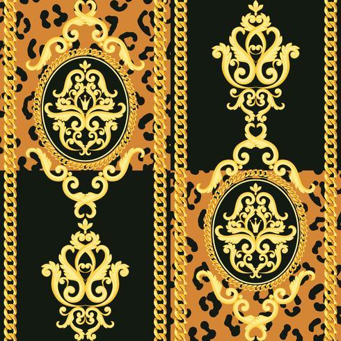 Motif damassé sans soudure. Or sur la texture de léopard noir et animal avec des chaînes. Illustration vectorielle vecteur