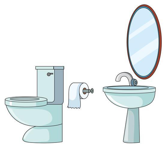 Ensemble d'élément de toilette vecteur