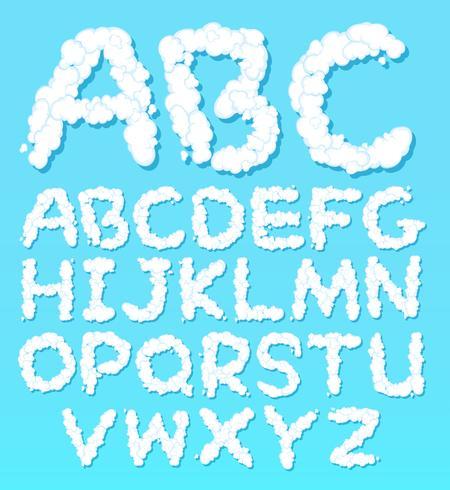 Un ensemble de polices de nuage alphabet anglais vecteur