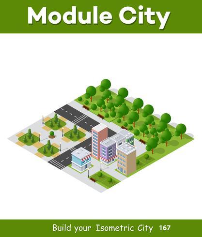 Ville isométrique du secteur des infrastructures urbaines. Vecteur