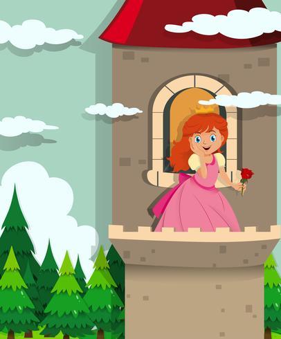 Princesse sur la tour vecteur