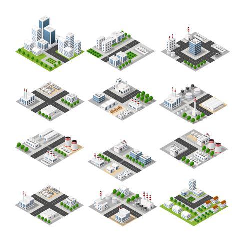 Concept isométrique de la ville vecteur