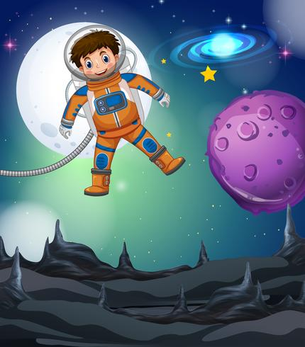 Astronaute volant dans la profonde galaxie vecteur