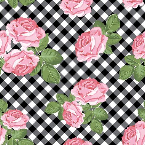Modèle sans couture de roses sur vichy noir et blanc, fond quadrillé. Illustration vectorielle vecteur