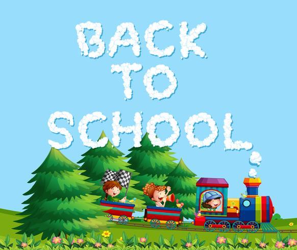 Les enfants dans le train de retour à l'école vecteur