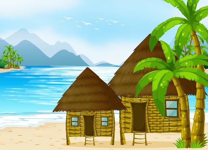 Cabanes en bois sur la plage vecteur