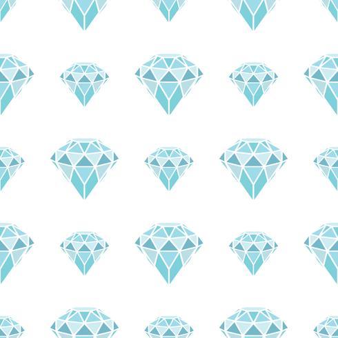 Modèle sans couture de diamants bleus géométriques sur fond blanc. Cristaux tendance branchés. vecteur