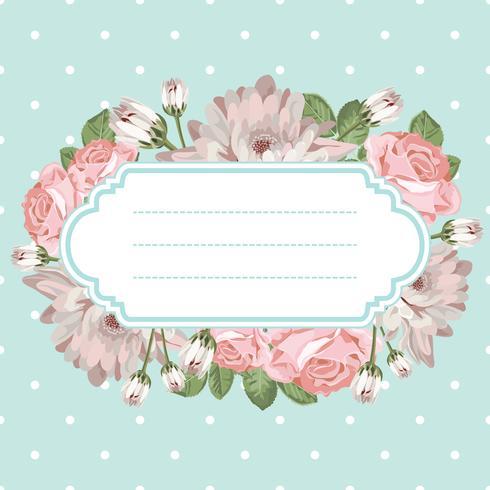 Shabby chic rose transparente motif sur fond à pois vecteur