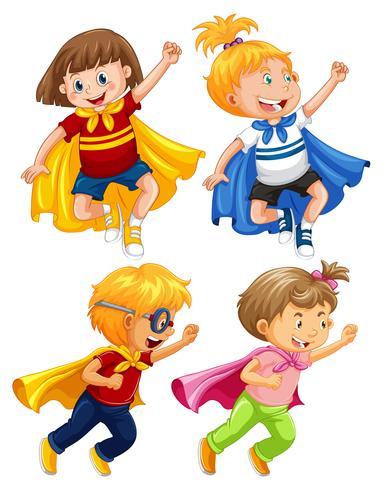 Super-héros enfants jouent le rôle sur fond blanc vecteur