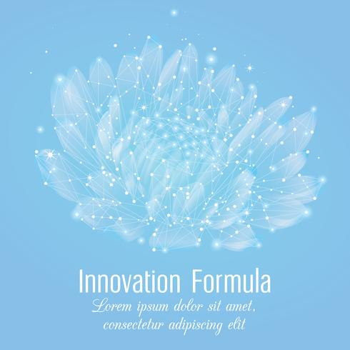 Fleur polygonale créative sur fond bleu clair. Concept d'innovation science et beauté dans le style wireframe low poly. vecteur