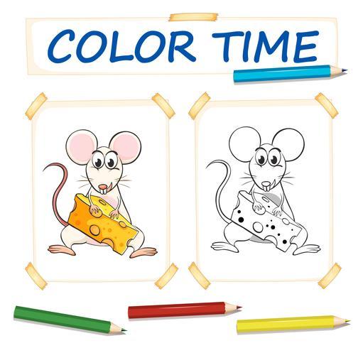 Modèle de coloration avec souris mignonne vecteur