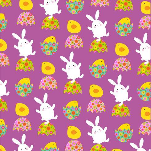 Motif de lapin et poussins de Pâques sur violet vecteur
