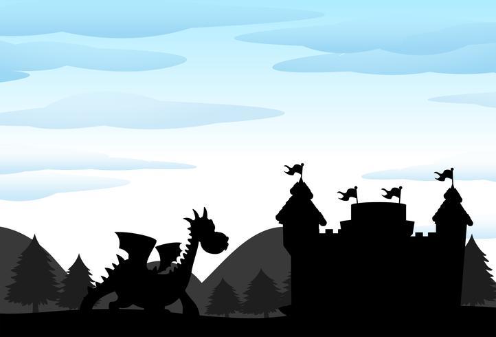 Scène de silhouette du château et du dragon vecteur