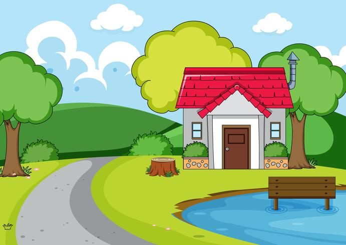 Une maison rurale en pleine nature vecteur