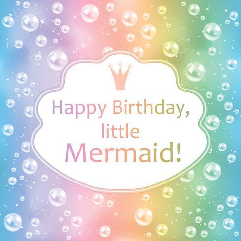 Carte d'anniversaire pour petite fille. Arrière-plan flou, perles et cadre. Illustration vectorielle vecteur