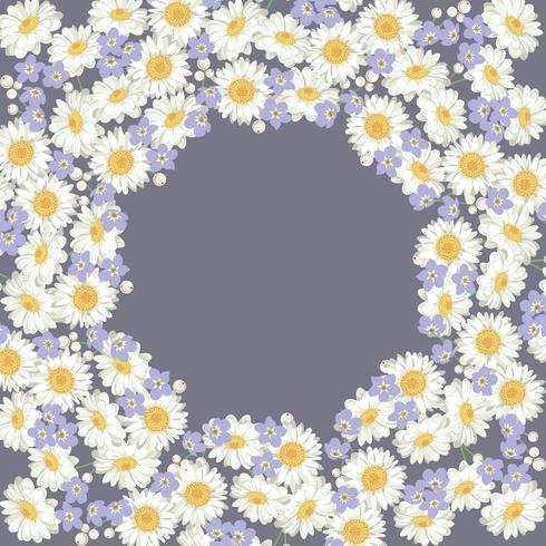 motif camomille et oubliez-moi pas des fleurs sur fond bleu vecteur